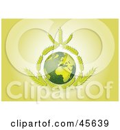 Royalty Free RF Clipart Illustration Of Wheat Framing The Green Earth On A Yellow Background by Michael Schmeling