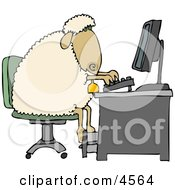 Anthropomorphic Anthropomorphic Sheep Typing On A Computer Keyboard Clipart