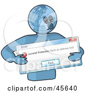 Royalty Free RF Clipart Illustration Of A Sad Globe Man Holding An Error Window by Michael Schmeling