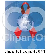 Royalty Free RF Clipart Illustration Of A Globe In Front Of A Red Aids Awareness Ribbon With A Grid Globe by Michael Schmeling