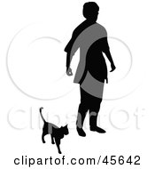 Royalty Free RF Clipart Illustration Of A Silhouetted Senior Woman Walking With Her Cat by Michael Schmeling