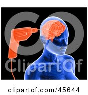 Royalty Free RF Clipart Illustration Of A Blue Xray Of A Drill Drilling Into A Womans Brain by Michael Schmeling