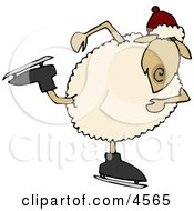 Anthropomorphic Sheep Ice Skater Skating On Ice With Skates Clipart
