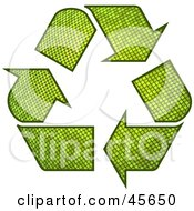 Three Green Textured Recycle Arrows Circling Clockwise