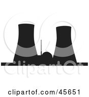 Royalty Free RF Clipart Illustration Of A Black Silhouetted Nuclear Power Facility With Cooling Towers
