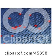 Royalty Free RF Clipart Illustration Of Random Red Squares On A Wavy Blue Tile Background