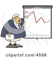 Anthropomorphic Sheep Business Person Pointing At A Graph Which Demonstrates A Drop Clipart by djart