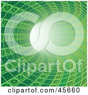 Royalty Free RF Clipart Illustration Of A Curving Green Tunnel Made Of Recycle Tiles Leading Off Into Light