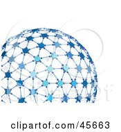Royalty Free RF Clipart Illustration Of A 3d Blue Networked Globe by Michael Schmeling