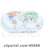 Royalty Free RF Clipart Illustration Of A Political World Map Showing Different Colored Countries And Continents And Blue Seas by Michael Schmeling