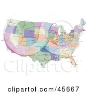 Royalty Free RF Clipart Illustration Of A Colorful Road Map Showing The Connecting Highways And Continental States Of The USA by Michael Schmeling
