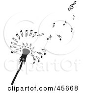 Royalty Free RF Clipart Illustration Of A Black Dandelion Seedhead With Music Notes Floating Off In The Wind by Michael Schmeling
