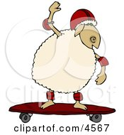 Anthropomorphic Sheep Skateboarding Clipart by djart