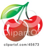 Royalty Free RF Clipart Illustration Of Two Fresh Red Bing Cherries On A Stem With A Leaf