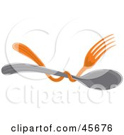 Royalty Free RF Clipart Illustration Of An Orange Fork Tangled Around A Spoon