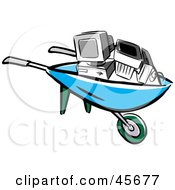 Royalty Free RF Clipart Illustration Of A Old Desktop Computer Being Taken Away In A Wheel Barrow