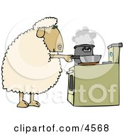 Anthropomorphic Sheep Cooking Food In Pots On A Stove Clipart