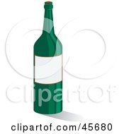Royalty Free RF Clipart Illustration Of A Green Wine With A Blank White Label With Space For Text by pauloribau