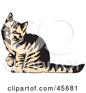 Royalty Free RF Clipart Illustration Of A Curious Beige And Black Striped Kitty Cat Looking Up To The Left by pauloribau