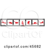 Royalty Free RF Clipart Illustration Of Slides Of Red Cat Silhouettes by pauloribau