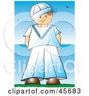 Proud Boy In A Sailor Uniform Standing Near The Sea