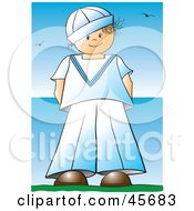Royalty Free RF Clipart Illustration Of A Proud Boy In A Sailor Uniform Standing Near The Sea by pauloribau