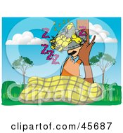 Royalty Free RF Clipart Illustration Of A Man Taking Nap And Resting Against A Tree With Birds Sleeping In His Hat