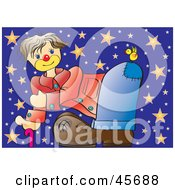 Royalty Free RF Clipart Illustration Of A Clown Bending Over To See A Bird On His Butt