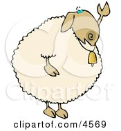 Anthropomorphic Sheep Waving Hand Goodbye Or Hello Clipart