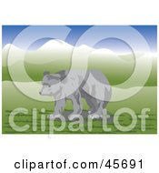 Royalty Free RF Clipart Illustration Of A Young Gray Bear Wandering In A Meadow