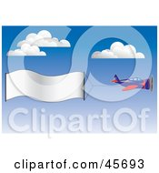 Royalty Free RF Clipart Illustration Of A Publicity Plane Flying A Blank Banner Through The Sky by pauloribau