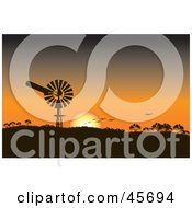 Royalty Free RF Clipart Illustration Of An Orange Sunset Silhouetting A Windpump And Birds