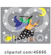 Royalty Free RF Clipart Illustration Of A Wicked Witch Flying Through A Gray Starry Night On Her Broom Stick