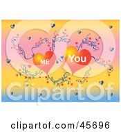 Royalty Free RF Clipart Illustration Of Me And You Love Hearts Growing On A Vine On A Gradient Background