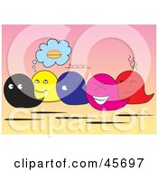 Royalty Free RF Clipart Illustration Of A Group Of Colorful Hungry Tired Happy And Grumpy Baggy Characters