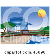 Royalty Free RF Clipart Illustration Of A Sun And Birds Above An Asian Pagoda And Footbridge On A Creek by pauloribau
