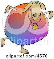Colorful Anthropomorphic Sheep Dancing Clipart