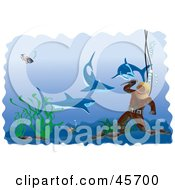 Royalty Free RF Clipart Illustration Of Sharks Swimming Around A Diver Prepared With A Knife