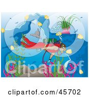 Royalty Free RF Clipart Illustration Of A Diver Swimming Near Fish And Dolphins In The Sea