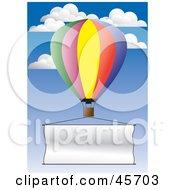 Publicity Hot Air Balloon Flying A Blank Banner Through The Sky