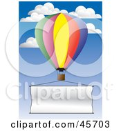 Royalty Free RF Clipart Illustration Of A Publicity Hot Air Balloon Flying A Blank Banner Through The Sky by pauloribau
