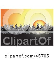 Royalty Free RF Clipart Illustration Of An Orange Sun Setting Behind A City Skyline