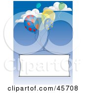 Royalty Free RF Clipart Illustration Of Publicity Party Balloons Floating A Blank Banner Through The Sky by pauloribau