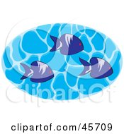 Royalty Free RF Clipart Illustration Of A Group Of Three Marine Fish Swimming In Rippling Water