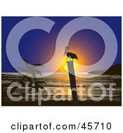 Royalty Free RF Clipart Illustration Of A Silhouetted Pelican On A Post Against An Ocean Sunset by pauloribau #COLLC45710-0129