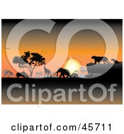 Royalty Free RF Clipart Illustration Of An Orange Safari Sunset Silhouetting Animals And Trees