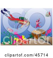 Royalty Free RF Clipart Illustration Of A Diver Swimming Towards A Sunken Treasure Chest In The Sea