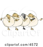 Dancing Anthropomorphic Sheep Chorus Clipart by Dennis Cox