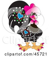 Royalty Free RF Clipart Illustration Of A Stylish Bedazzled Black And Pink Rooster With Red Nails