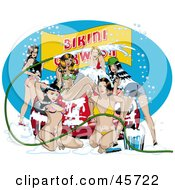 Royalty Free RF Clipart Illustration Of Sexy Pinup Women Cleaning A Vehicle During A Sudsy Bikini Car Wash by r formidable #COLLC45722-0131